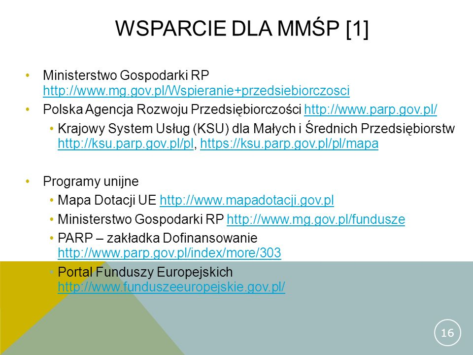 Wsparcie dla mmśp [1] Ministerstwo Gospodarki RP http://www.mg.gov.pl/Wspieranie+przedsiebiorczosci.